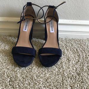 Blue suede chunk heels